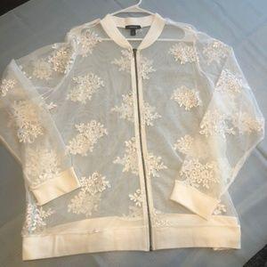 Torrid Cream Sheer Jacket with appliques